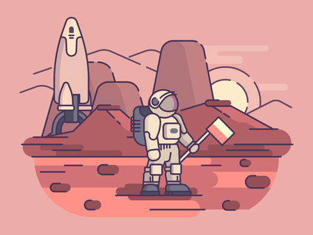 Astronaut on surface of planet