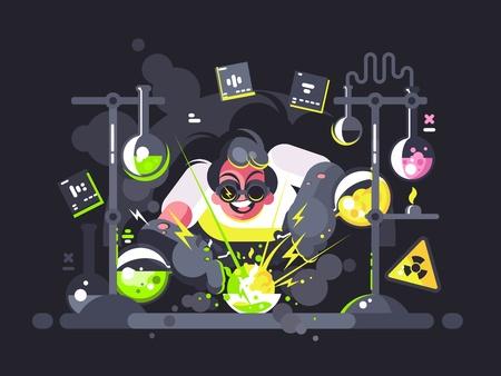 Chemik naukowiec dokonujący eksperymentu chemicznego Ilustracje wektorowe