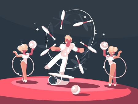 Artist juggler in circus arena Stock Illustratie