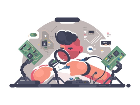 Man solder iron electric board. Illustration