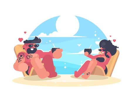 Loving couple resting on beach. Guy and girl drinking a cocktail by sea. Vector illustration.