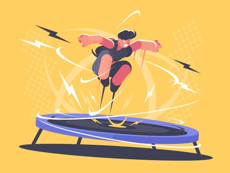 Athlete jumping on trampoline in cartoon illustration.