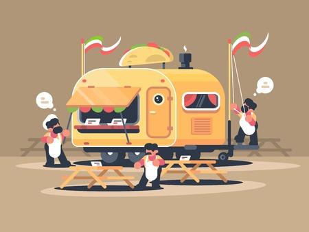 Mobile van kiosk for sale nachos Illustration