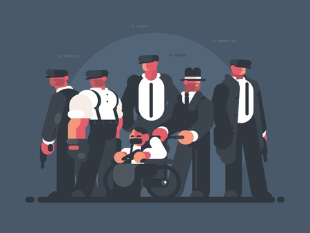 Group of men in suits, mafia concept. Vector illustration. Illustration