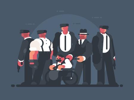 Group of men in suits, mafia concept. Vector illustration. Illustration