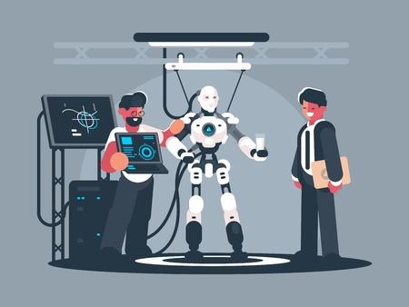 Presentation of modern robot vector illustration.