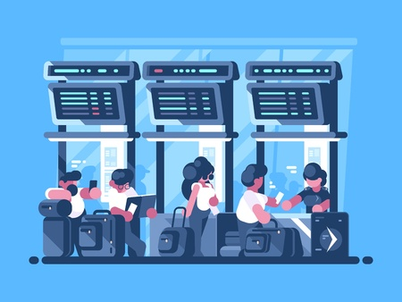 Checking and check-in of baggage for flight Illustration