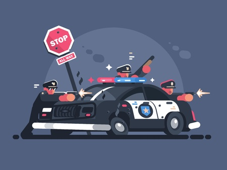 Police patrol fires from behind car Illustration
