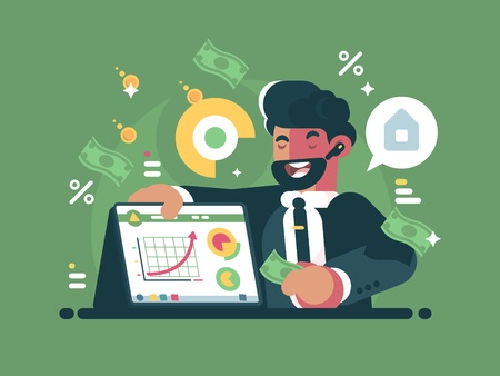 Successful and rich trader illustration on green background.