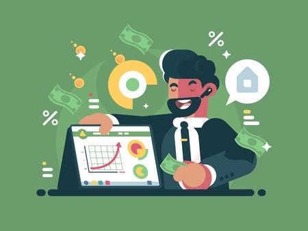 Successful and rich trader illustration on green background. Reklamní fotografie - 97388120