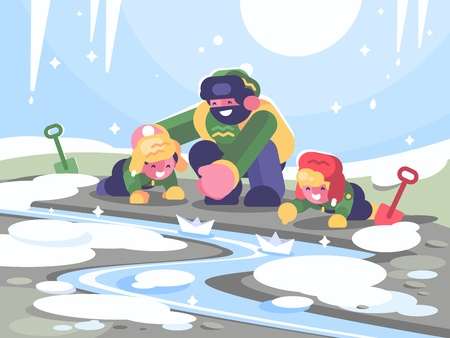 Father with children launches paper boats. Illustration