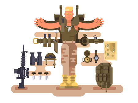 Military soldier rookie and ammunition design flat