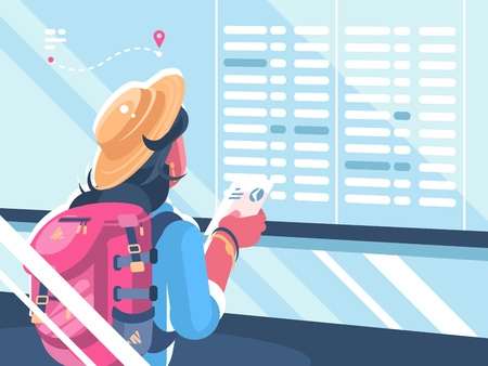 Girl traveler looking at schedule of flights. Illustration