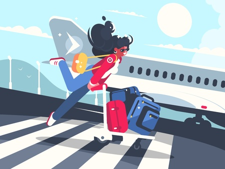 Girl carrying baggage on trolleys for flight Stock Vector - 98524014