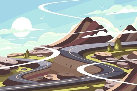 Mountain asphalt road serpentine Illustration