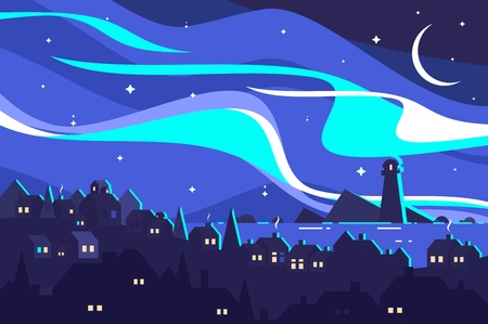 Landscape of Northern Lights. Night port city with beacon. Vector illustration