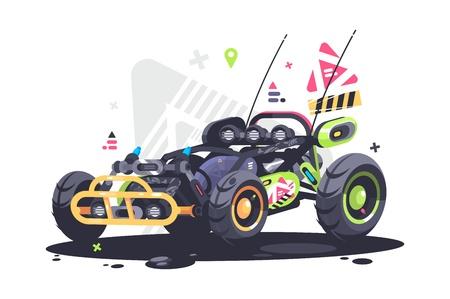 Coche de carreras buggy. Potente y rápido auto deportivo. Ilustración vectorial