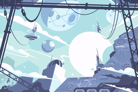 Space colony with rockets and stations in zero gravity. Vector illustration