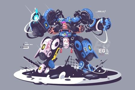 Illustration of Brutal guy in combat exoskeleton