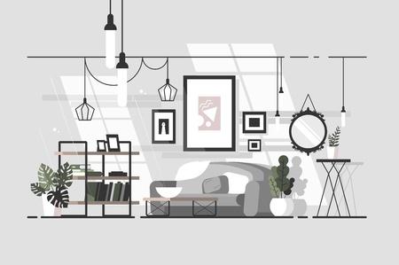 Cozy living room Stock Vector - 100643416
