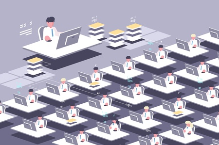 Large group of employees. Office staff for computers. Vector illustration Çizim