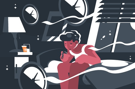 Man suffers from insomnia. Guy sits at night on bed. Vector illustration Ilustração