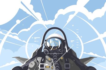 Piloto de caza en cabina. Aviones de combate en misión. Ilustración vectorial