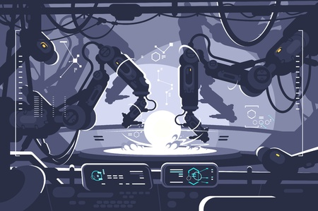 Automatic robot in industrial production. Robo hand processed product. Vector illustration