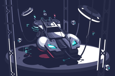 Flying racing car future vector illustration.