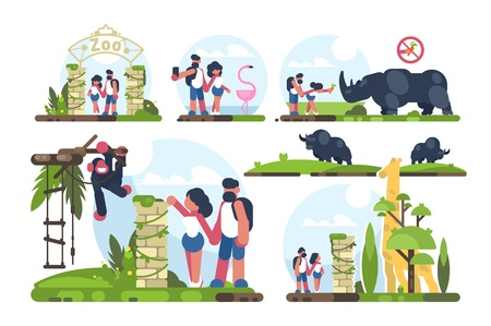 Couple of guy and girl walking in zoo Illustration