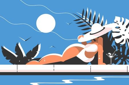 Attractive girl in white bikini and hat Archivio Fotografico - 102382084
