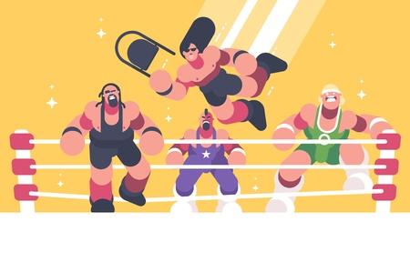 Starke und mächtige Wrestler im Ring