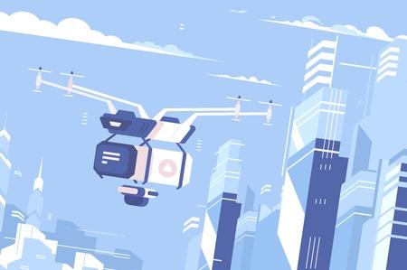 Drone delivers parcel