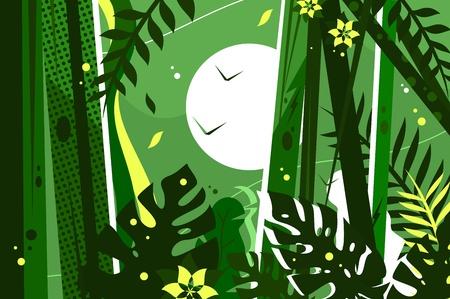 Green jungle background Çizim
