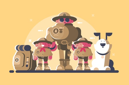 Group of scouts with rucksack Illustration