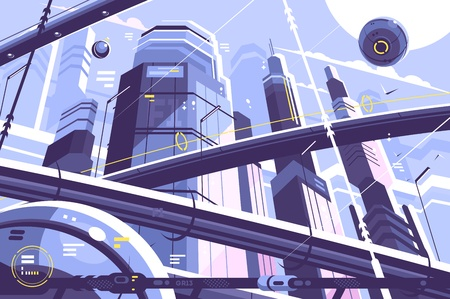 City metropolis of future Illustration