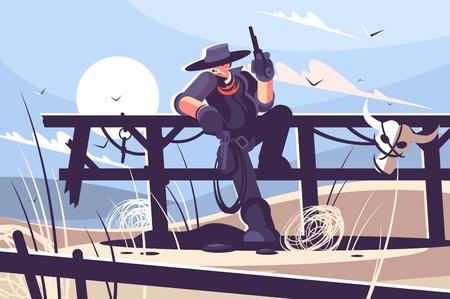 Brutal cowboy with hat and revolver. Vector illustration.