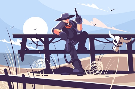 Brutal cowboy with hat and revolver. Vector illustration.