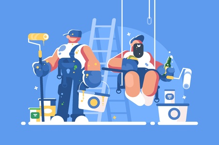 Brigade of painters with buckets and rollers Illustration