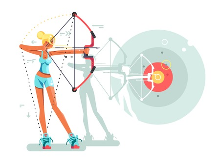 Female archer character. Woman archery with weapon, bullseye and aiming, vector illustration 矢量图像