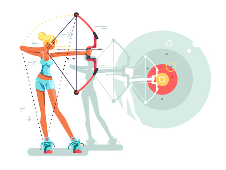 Female archer character. Woman archery with weapon, bullseye and aiming, vector illustration Illustration
