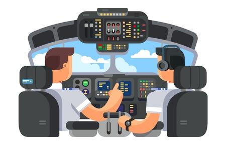 Pilotos en diseño plano de avión de cabina. Ilustración de vector