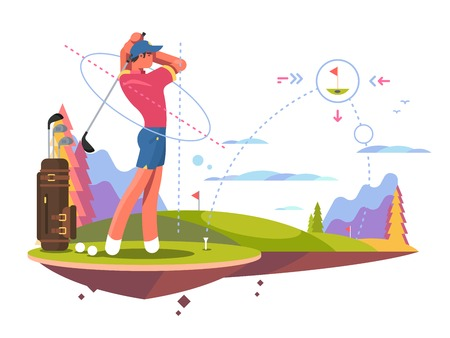 Male golfer playing golf, calculates the impact and trajectory for exact hit. Flat vector illustration.