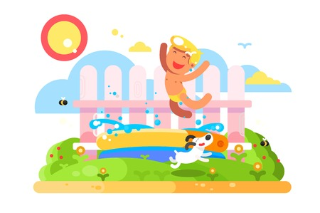 Child boy play in garden pool. Summer vacation childhood, running dog and boy jump. Flat vector illustration