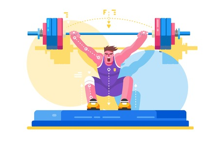 Weight lifting athlete competitions. Strong man in gym lifting heavy barbell. Vector illustration