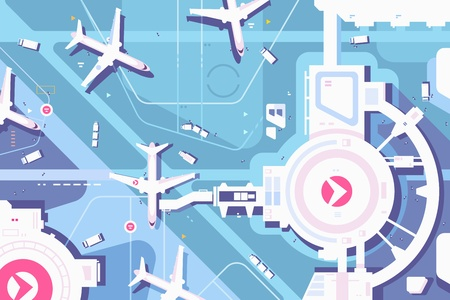 Terminal airport, airplanes and landing strip view from above. Vector illustration Иллюстрация