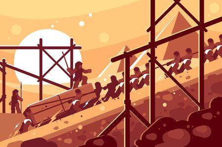 Bau ägyptischer Pyramiden. Sklaven bewegen Blöcke zum Bauen. Vektor-Illustration