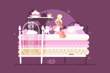 Kleine Prinzessin auf Erbse. Mädchen schlief auf einem unbequemen Bett. Vektor-Illustration Vektorgrafik