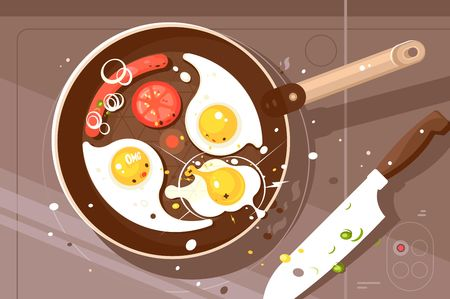Fry delicious scrambled eggs and sausage in frying pan. Appetizing breakfast view from above. Vector illustration