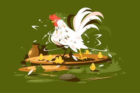 Rooster daddy with yellow chickens. Bird family on farm. Vector illustration